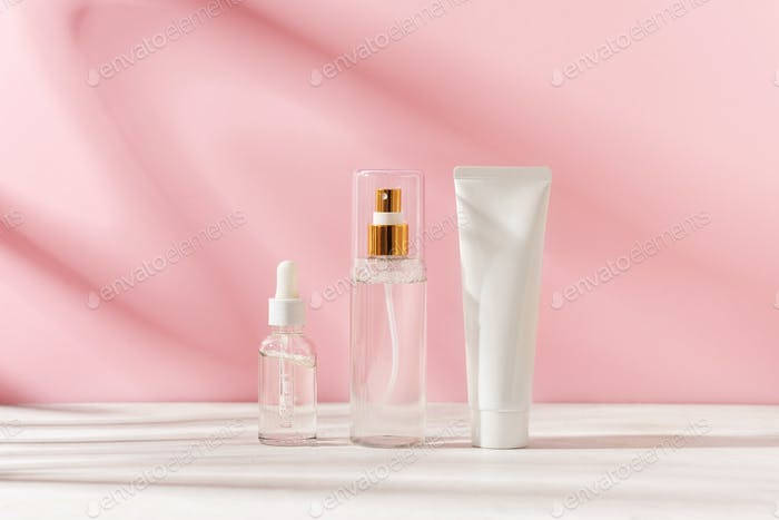 Group of cosmetic product, beauty mockup and template