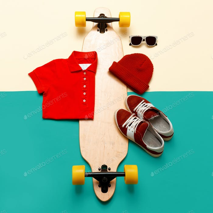 Skateboard set. Accessories. Jeans T-shirt sunglasses sneakers.