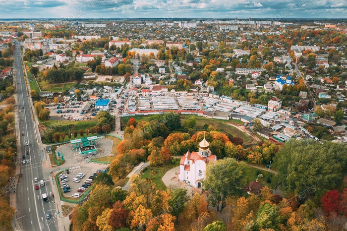 Mahiliou, Belarus. Mogilev Cityscape With Temple of the Holy Royal Martyrs and New Martyrs and