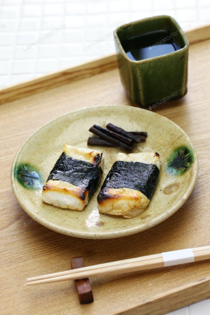 Isobeyaki, grilled japanese rice cake wrapped in nori