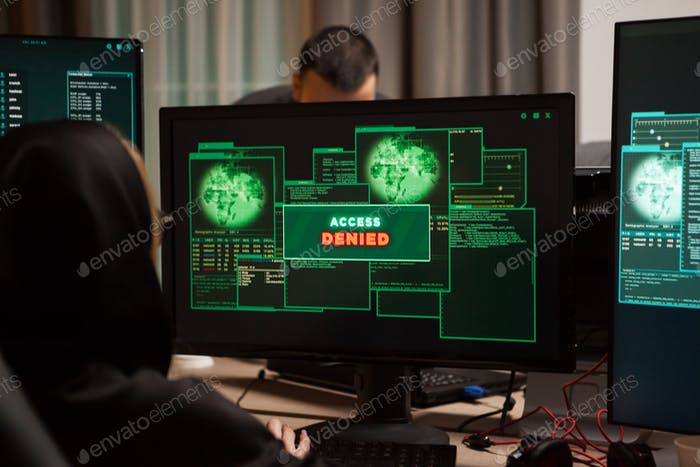 Back view of female hacker get access denied