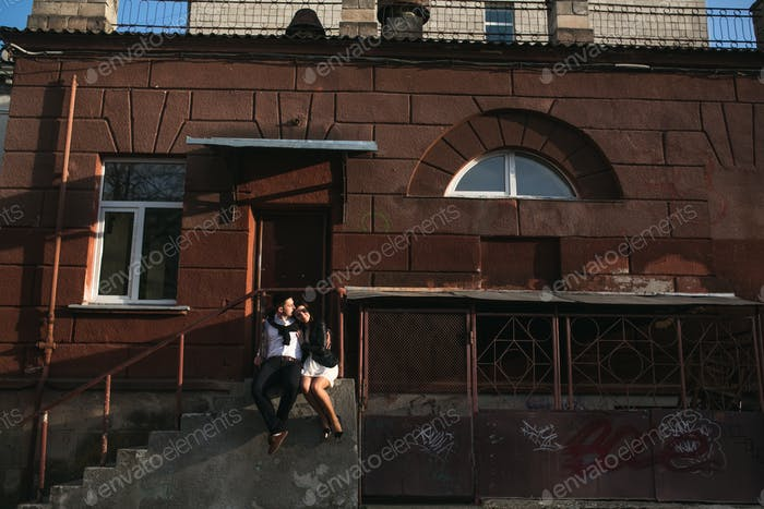 Couple haveing fun in the city