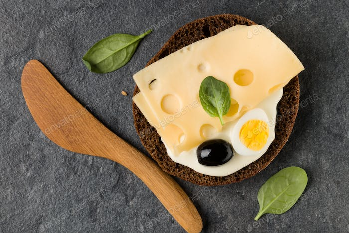 open Sandwich with cheese. Top view, flat lay.