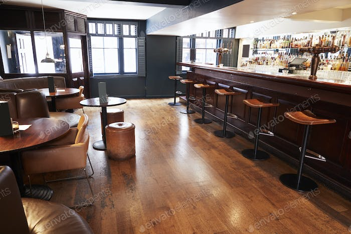 Interior Of Empty Bar With Stools And Counter