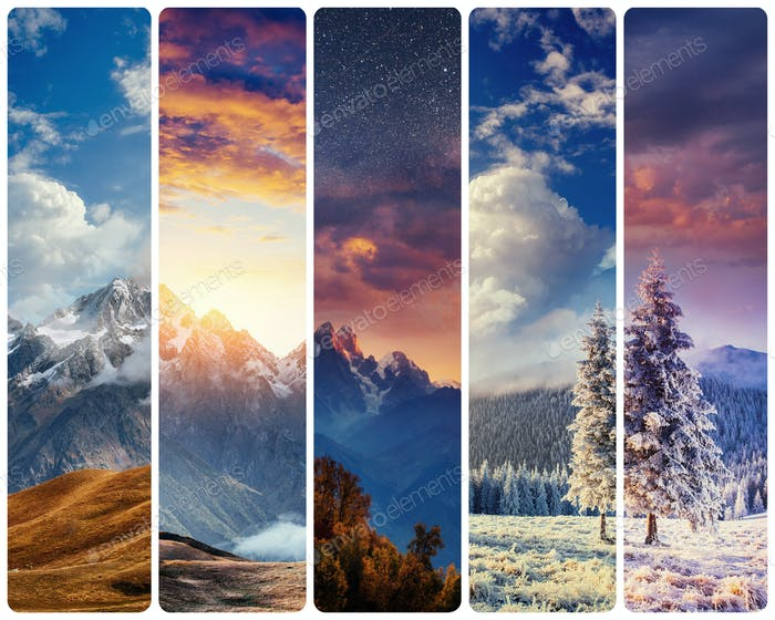 Kreative Collage majestätische Berge in verschiedenen Jahreszeiten. Instag