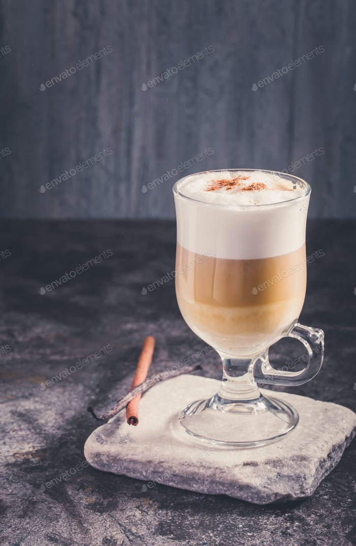 Latte coffee in cold tones
