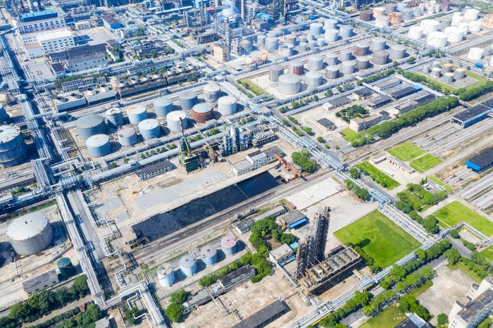 aerial view of petrochemical plant area