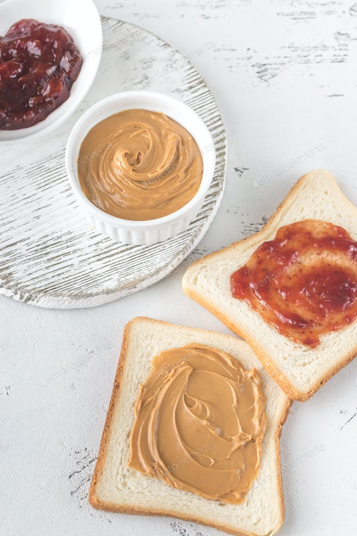 A peanut butter and jelly sandwich