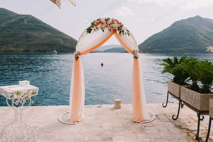 wedding arch with sea view