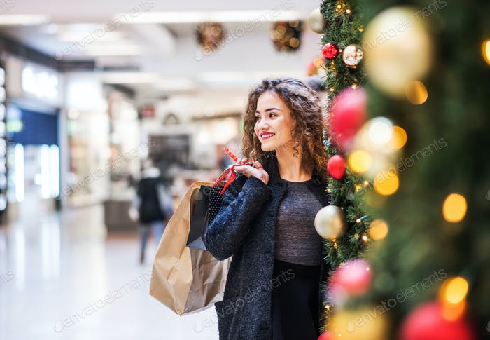 A portrait of teenage girl with paper bags in shopping center at Christmas.