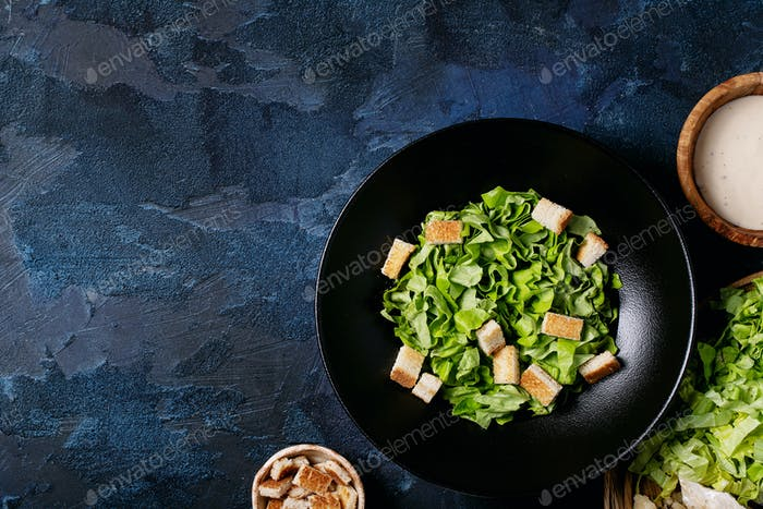 Ingredients for making caesar salad