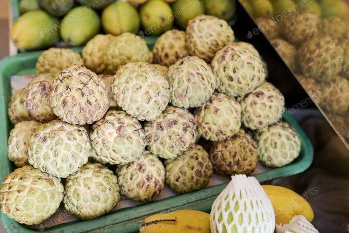 Box of cherimoya fruits