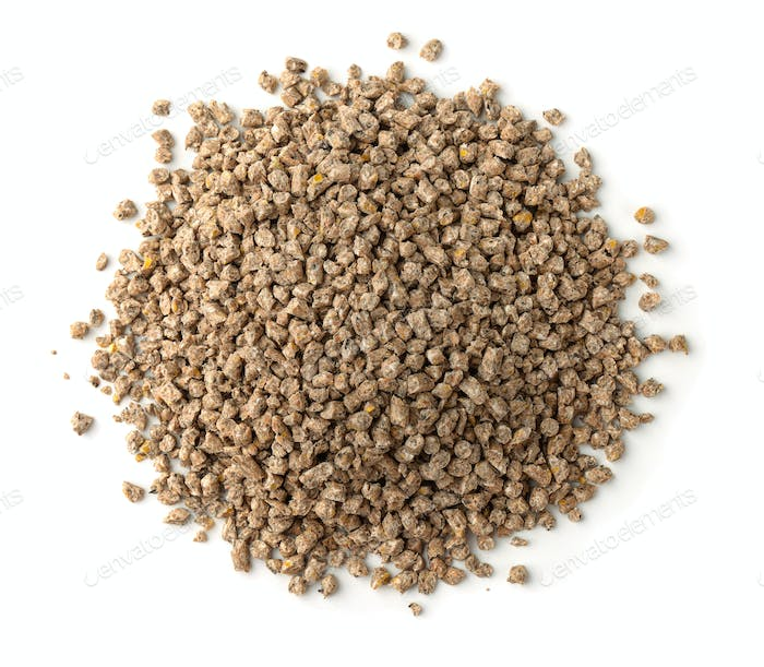 Top view of compound feed pellets