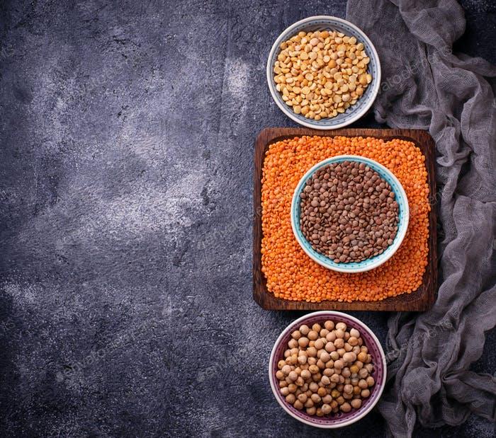Various legumes. Chickpeas, red lentils, black lentils and  yellow peas