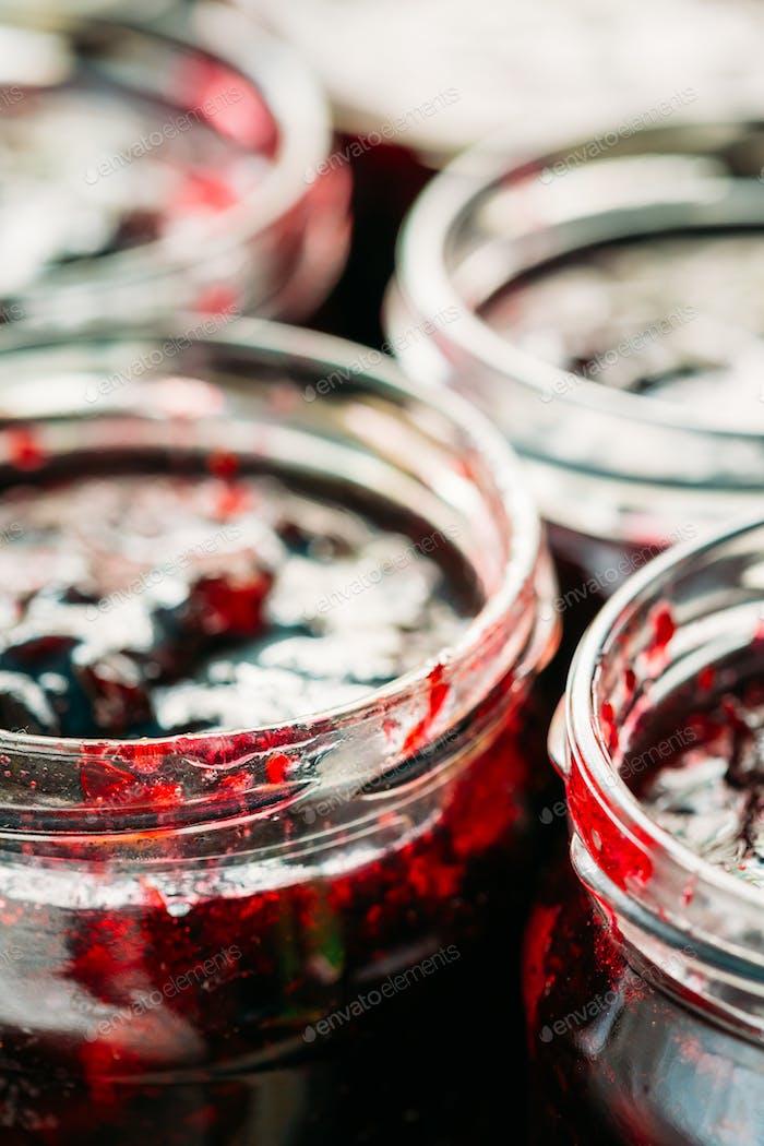 Jars With Sweet Tasty Yummy Red Jam