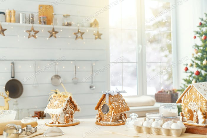 Christmas gingerbread houses on the table