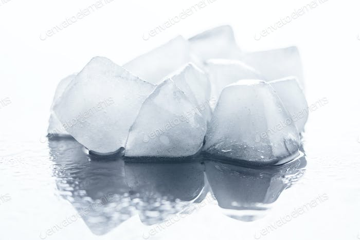 Cold ice cubes.