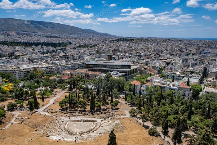 Athens, Greece cityscape, Dionysus theatre and Acropolis museum aerial birds eye view,