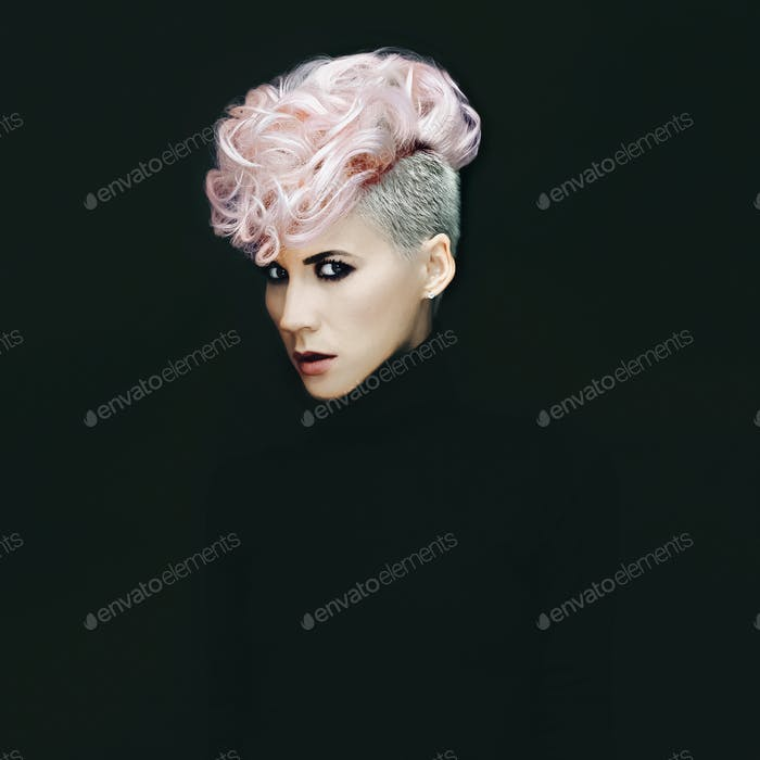 Sensual portrait lady with fashionable hairstyle on black backgr