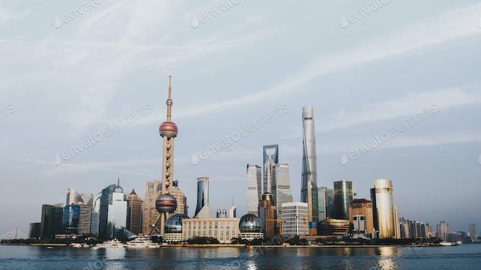 View of Shanghai and Huangpu River, China