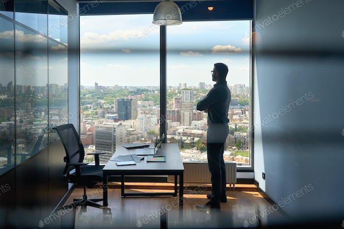 Silueta de hombre de negocios de pie en la oficina con vista urbana de la capital de la ciudad grande.