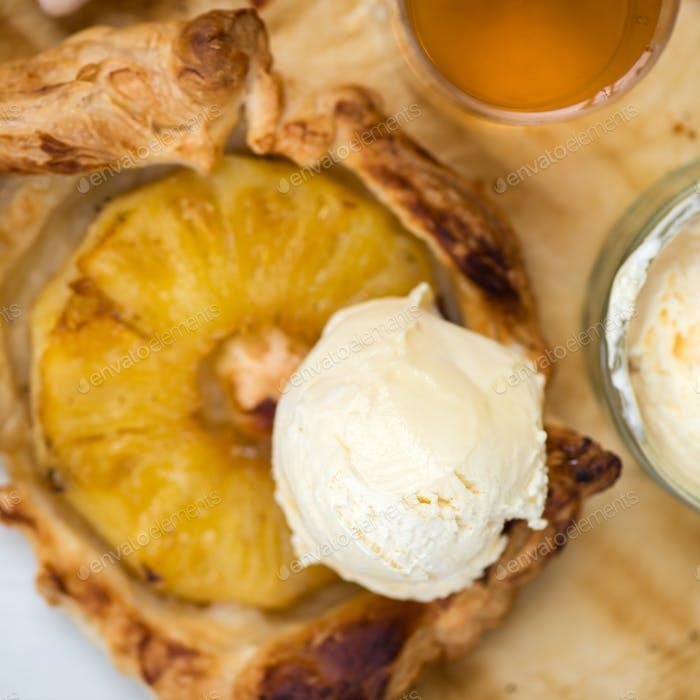 Homemade honey-glazed pineapple tarts
