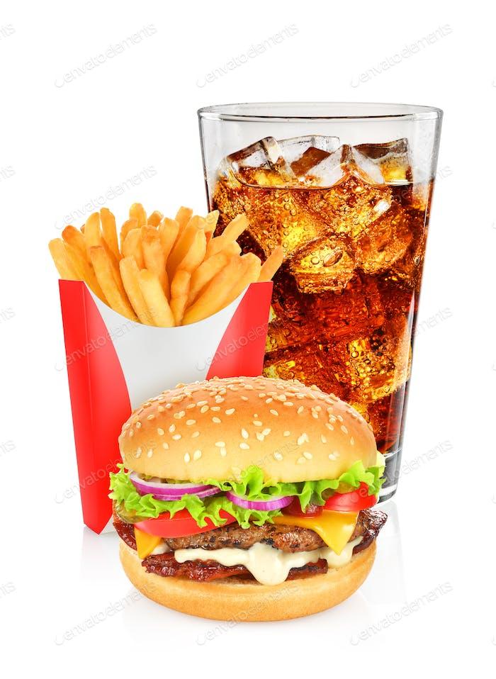 Hamburger Cola und Pommes Frites