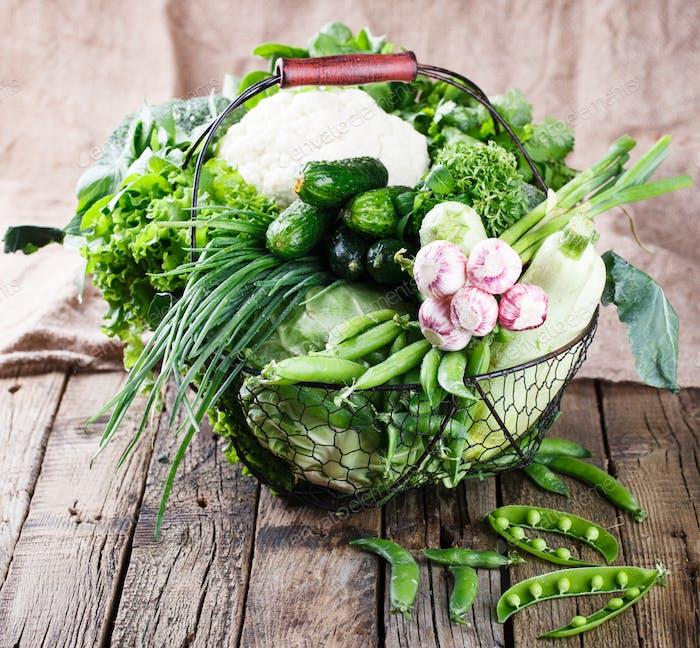 Gemüsesorte in einem Drahtkorb