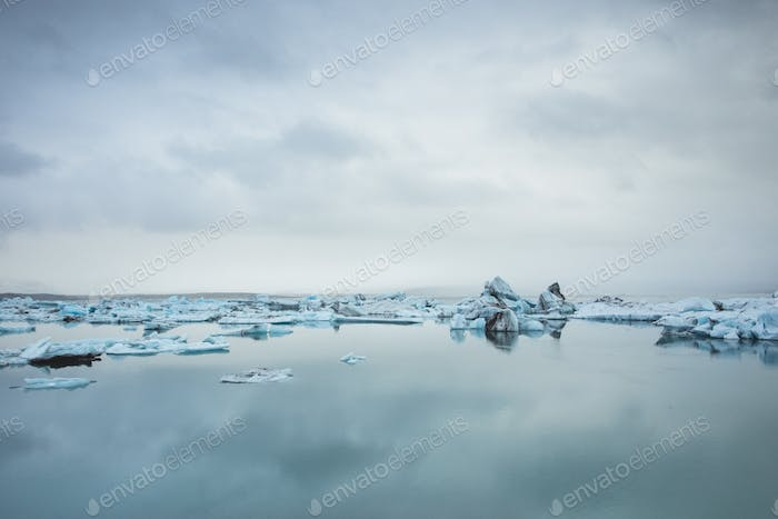 Icebergs floating in a glacial lake