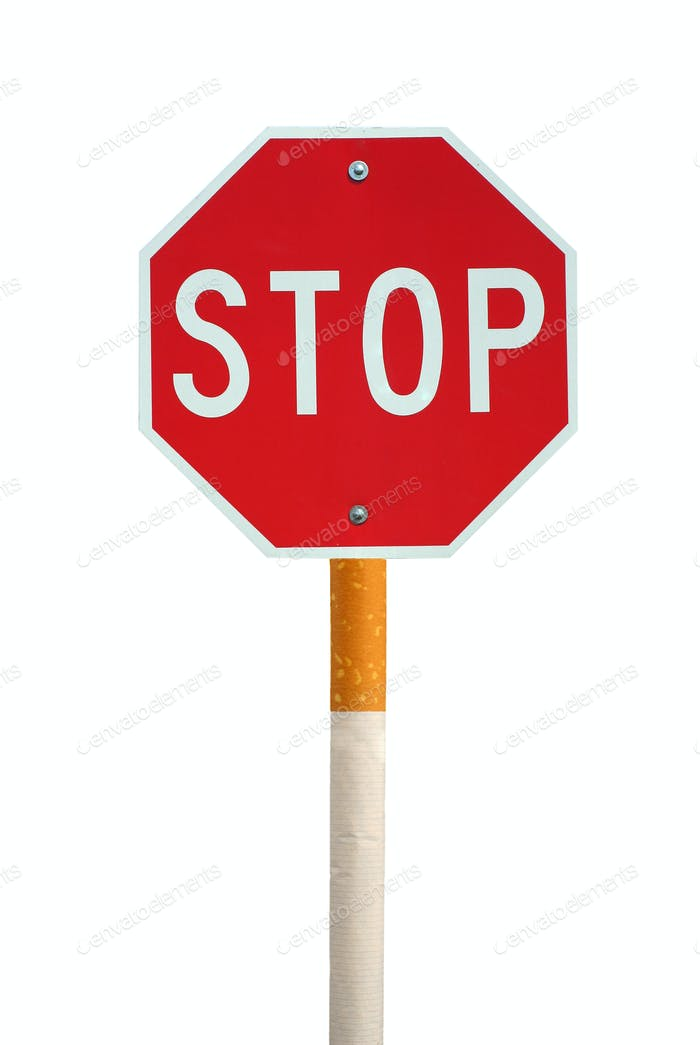 Isolated stop sign with cigarette post