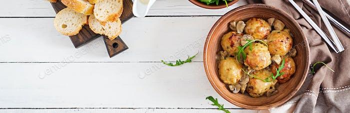 Delicious homemade meatballs with mushroom cream sauce.  Swedish