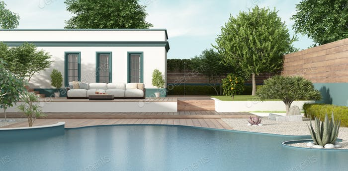 Mediterranean style villa with garden and pool