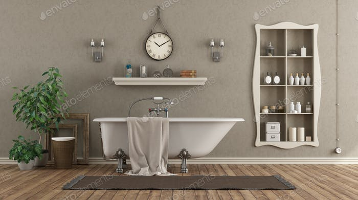 Classic bathroom with bathtub and niche with objects