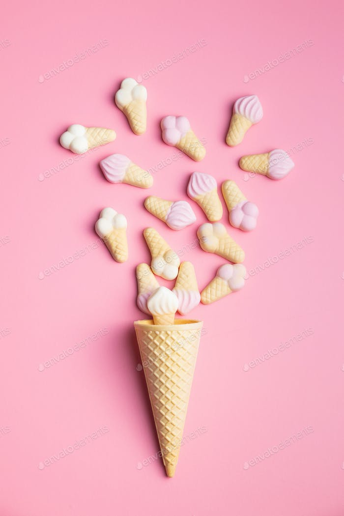 Jelly candy shape ice cream. Gummy bonbons.