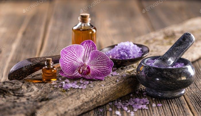 Lavender oil and salt
