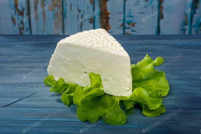 Cheese on a leaf salad