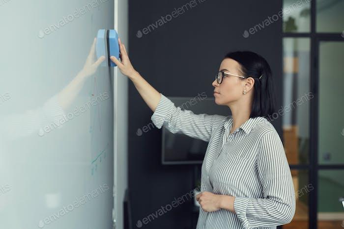 Woman preparing for the presentation