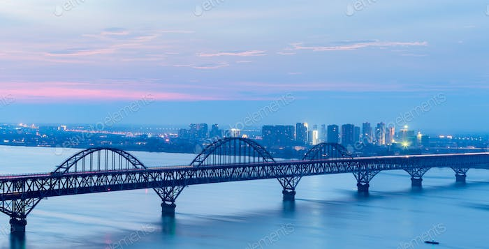 jiujiang yangtze river bridge in nightfall, China