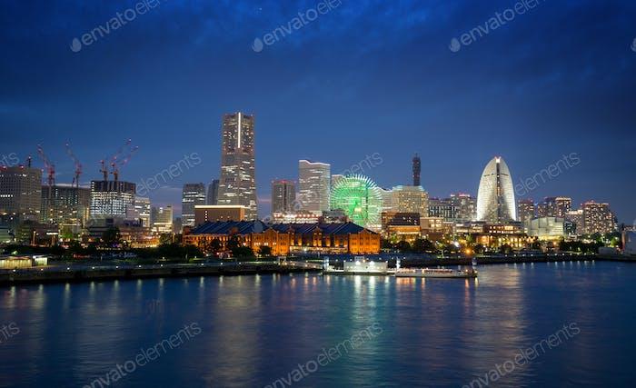 Yokohama skyline in the evening