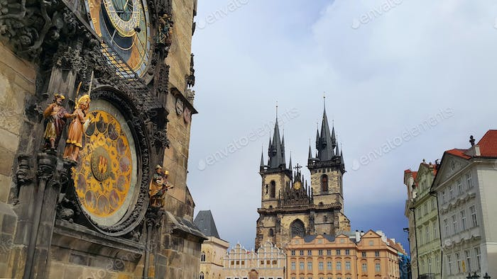 Tyn Cathedral and Old Town Hall Tower with Astronomical Clock in Prague