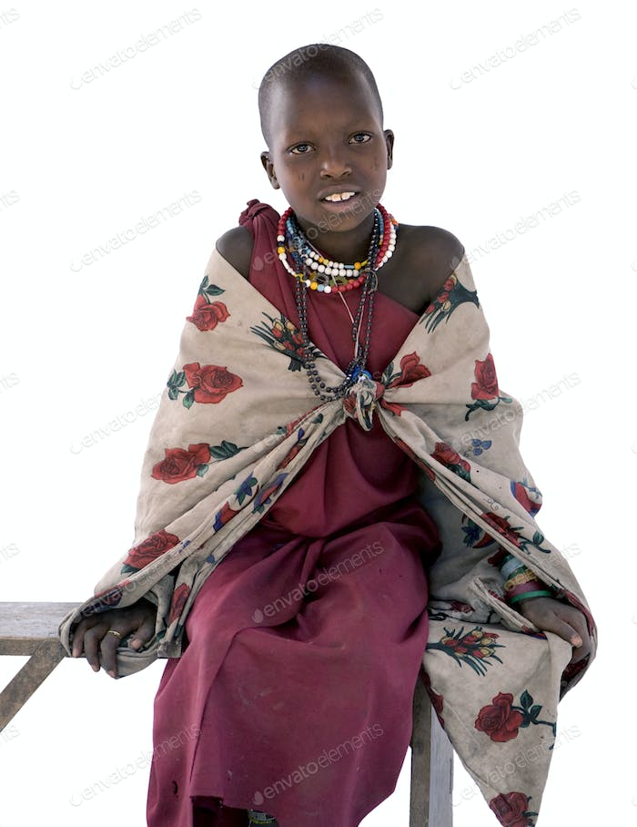Portrait of a masai child looking at the camera