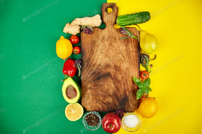 Fresh raw vegetables, fruit and  ingredients for healthy cooking