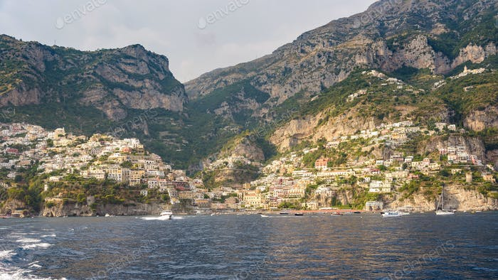 Panoramic view of Positano town in afternoon sun