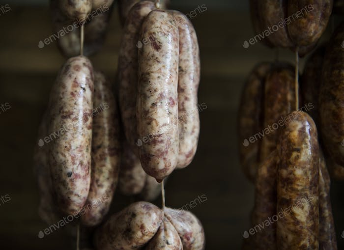 Homemade sausage food photography recipe idea