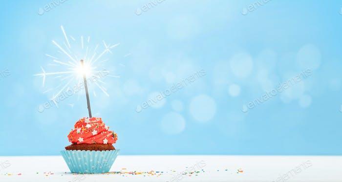 Birthday cupcake with burning sparkler