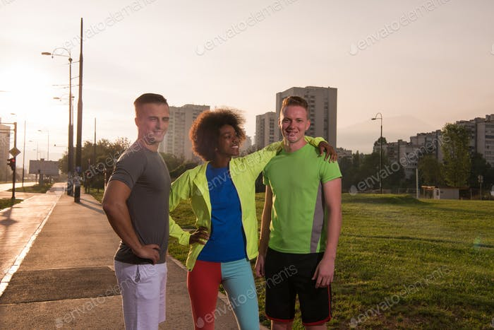 portrait multiethnic group of people on the jogging