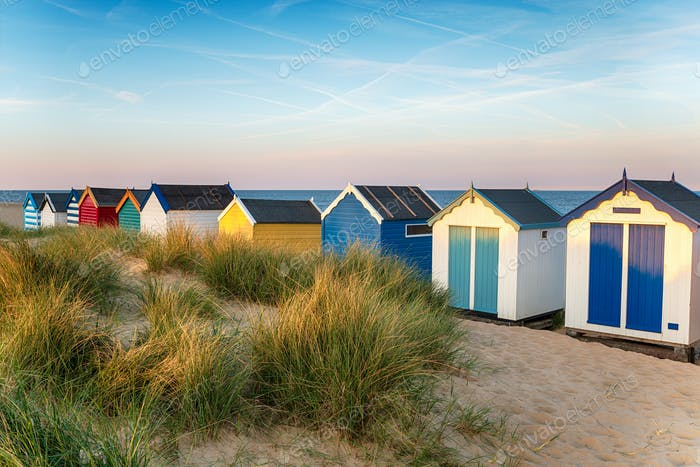 Brightly coloured beach huts at Southwold