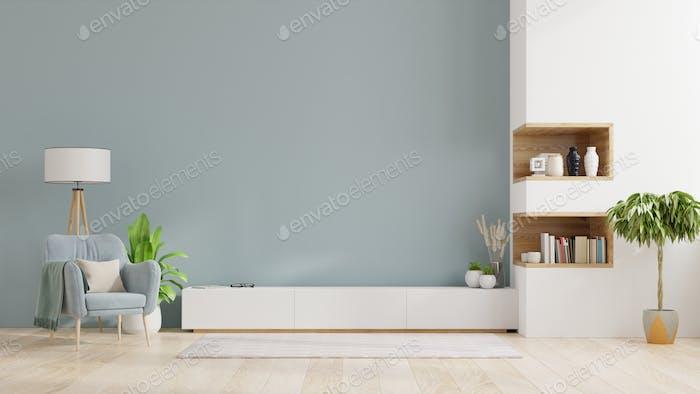 Armario TV en sala de estar moderna, interior de una luminosa sala de estar.