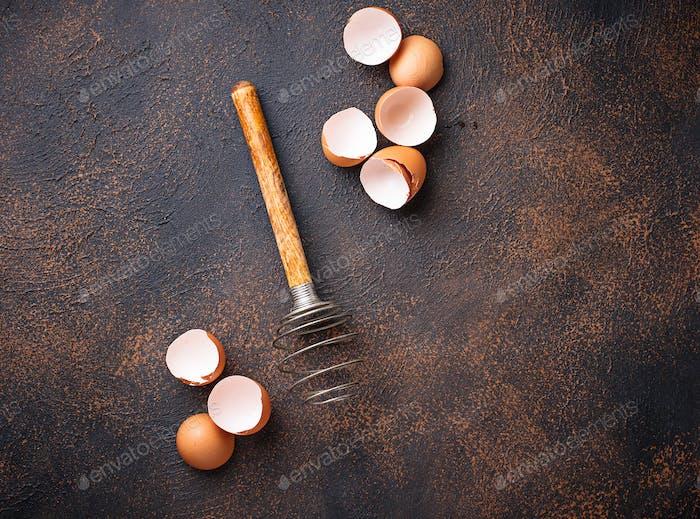 Eggshell and old  vintage whisk