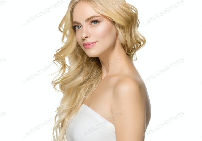 Blonde Hair Woman Beautiful Curly Hairstyle Wavy Long hair isolated on white